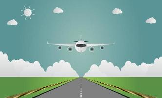 flygplan landar på flygplatsen på landningsbanan ett plan som landar eller lyfter. vektorillustration vektor