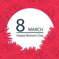 abstrakte rosa Blumengrußkarte - internationaler glücklicher Frauentag - 8 Märzfeiertagshintergrund mit Papierschnittrahmenblumen. vektor