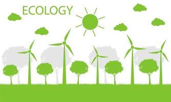 vindkraftverk med träd och solen ren energi med miljövänliga konceptidéer. vektorillustration vektor