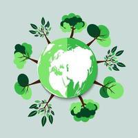 ekologi. gröna städer hjälper världen med miljövänlig konceptidé. med jord- och trädbakgrund. vektorillustration vektor