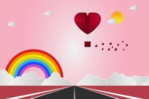 Alla hjärtans dag ballonger i ett hjärtformat flygande över gräs vy bakgrund, papper konst stil. vektor illustratör