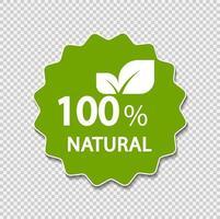 100 procent naturlig etikett. vektor illustration.