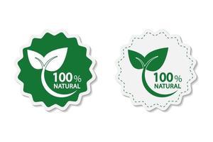 miljövänligt energikoncept, 100 procent naturlig etikett. vektor illustration.