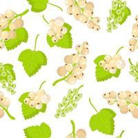 Nahtloses Muster der Vektorkarikatur mit exotischen Früchten, Blumen und Blättern der weißen Rubine oder der weißen Johannisbeere auf weißem Hintergrund vektor
