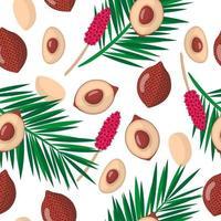 Nahtloses Muster der Vektorkarikatur mit exotischen Früchten, Blumen und Blättern von Salacca Zalacca oder Salak auf weißem Hintergrund vektor