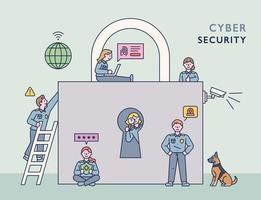 Ein Team von Ermittlern von Cyberkriminalität sucht nach einem Verbrecher in der Nähe eines riesigen Schlosses. flache Designart minimale Vektorillustration. vektor