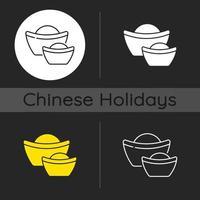 kinesiska guldtackar mörk tema ikon vektor
