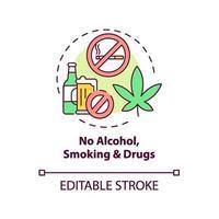 keine Alkohol-, Rauch- und Drogenkonzeptikone vektor