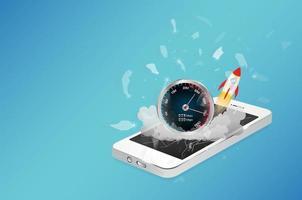 smartphone-enhet med höghastighetsinternet vektor