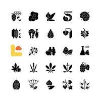 allergi orsaka svarta glyph ikoner på vitt utrymme vektor