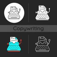 Schreibmaschine dunkles Thema Symbol vektor