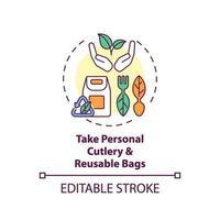 Nehmen Sie persönliches Besteck und wiederverwendbare Taschen Konzeptikone vektor
