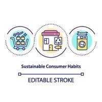 Konzeptikone für nachhaltige Verbrauchergewohnheiten vektor