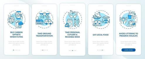 Tipps für nachhaltige Touren Onboarding des Bildschirms der mobilen App-Seite mit Konzepten vektor