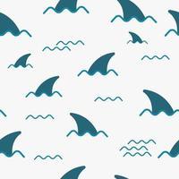 nahtloses Muster mit Haifischflosse in der Ozeanwelle. niedliches Meeresmuster für Stoff, Babykleidung, Hintergrund, Textil, Geschenkpapier und andere Dekoration. Vektorillustration vektor