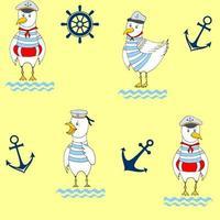 nahtlose lustige niedliche Möwe Cartoon Illustration. das Designkonzept für Kinder. Notizbücher, Etiketten, Tagebuch, Zubehörschule. vektor