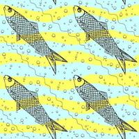 Vektor nahtloses Muster des Fisches auf Stripphintergrund. lustiges Bild zum Drucken auf Textilien, Karten, Anzeigen, T-Shirts.