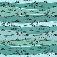 Vektor nahtloses Muster der portugiesischen Sardinen auf blauem Stripphintergrund. lustiges Bild zum Drucken auf Textilien, Karten, Anzeigen, T-Shirts.