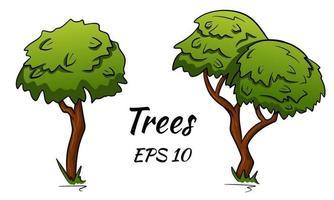 Satz abstrakter stilisierter Bäume. zwei Laubbäume. Vektorsatz von Bäumen im Karikaturstil. vektor