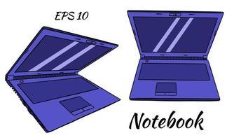bärbar dator. bärbar dator i tecknad stil. uppsättning. vektor illustration isolerade.