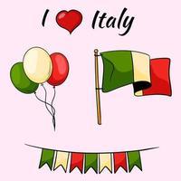 Italien. Land Embleme. Italienische Flagge. Bälle in den Farben Italiens. Flash-Laufwerke. Vektorillustration im Cartoon-Stil. vektor