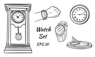 bunte Vektorillustration. verschiedene Arten von Uhren. Solar, Wand, Handgelenk. antike Uhr. Satz von Vektoruhren. vektor