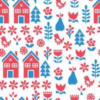 Blå och rött skandinaviskt mönster