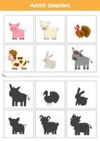 Finde Schatten von niedlichen Nutztieren. Karten für Kinder. vektor
