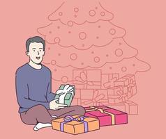 Feiertags-, Geschenk-, Feierkonzept. junger glücklicher fröhlicher lächelnder Mann Kerljunge, der viele Geschenke trägt. Neujahrsweihnachts- oder Geburtstagsgeschenk-Werbegeschenkillustration. vektor