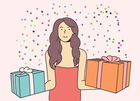 Feiertags-, Geschenk-, Feierkonzept. junges glückliches fröhliches lächelndes aufgeregtes Frauenmädchen, das neues Jahr feiert und Geschenke hält. Neujahrsweihnachts- oder Geburtstagsgeschenk-Werbegeschenkillustration. vektor
