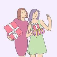 Neujahrsfeier, festliches Stimmungskonzept. junge glückliche fröhliche lächelnde aufgeregte Frauen, die tragende Geschenke halten. Neujahrsweihnachts- oder Geburtstagsgeschenk-Werbegeschenkillustration. vektor
