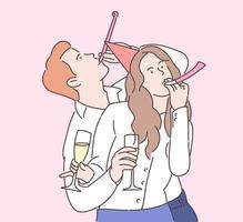 nyårsfirande, festligt humörskoncept. glada chefer eller kollegor som firar semester tillsammans. vektor