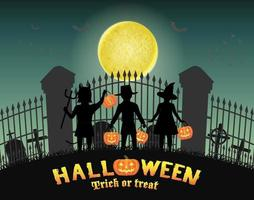 halloween barn framför kyrkogårdsporten vektor