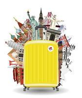 resväska resväska med landmärken vektor