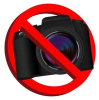 ingen kamera, förbud tecken på vit bakgrund vektor