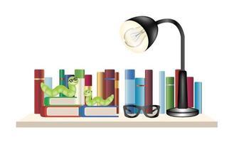 Bücherwürmer auf einem Bücherregal mit Büchern, Lesebrille und Leselampe vektor