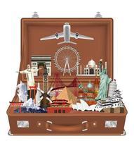 resa landmärke i resväska med flygplanvektor vektor