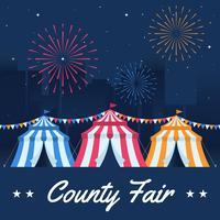 Karnevals-und Spaß-Messe mit einem gemalten Zelt und Feuerwerken auf Stadt-Landschaften vektor