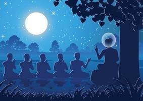Predigt des Herrn von Buddha vor fünf Asketen, dem ersten Mönch des Buddhismus vektor