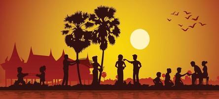 Aktivitäten von Song Kran Day, berühmtes Festival von Thailand, Loas, Myanmar und Kambodscha vektor