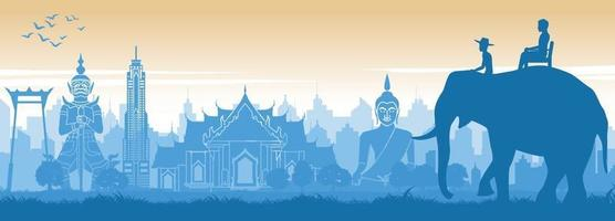 Thailand landmärken med turist på elefanten vektor