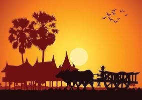 lantliv för asiatisk jordbrukare, rider vagn vid soluppgång till jobbet vektor