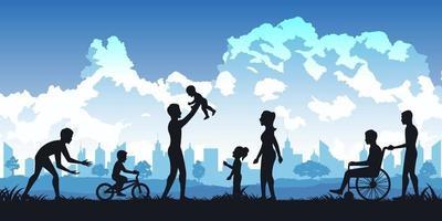 Silhouette von Menschen im Park, Eltern und Kinder spielen vektor