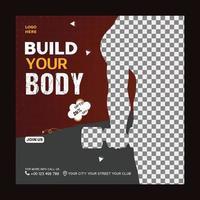 Erstellen Sie Ihren Körper Fitness Club Social Media Post-Vorlage vektor