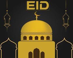 eid bakgrund moské guldfärg eid dag vektor