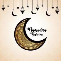 hand Rita doodle moon för ramadan kareem inbjudan gratulationskort bakgrund vektor