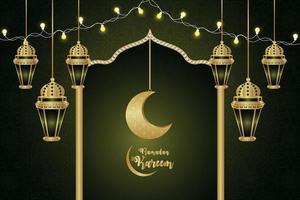 islamisk festival för ramadan kareem firande gratulationskort bakgrund med kreativ måne och lykta vektor