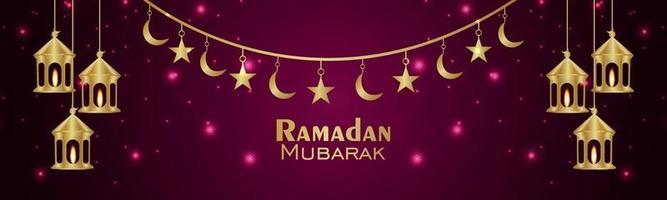ramadan kareem firande gratulationskort med kreativ lykta vektor