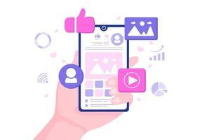 social media marknadsföringsillustration för annonsering av onlinetjänstplattform, onlinekurs, analys, programvara för annonshantering, webbplats vektor