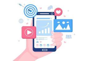 sociala medier marknadsföringsillustration för annonsering av onlinetjänstplattform, onlinekurs, analys, programvara för annonshantering, webbplats vektor